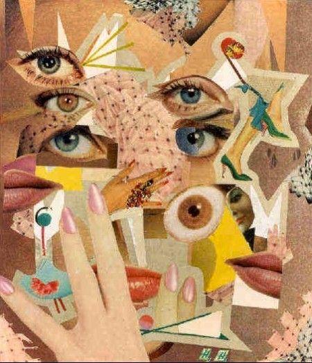 hannah hoch collage eyes lips fingernails pop mash leggings inspiration