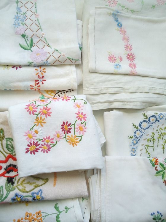 modflowers: vintage embroidered linens