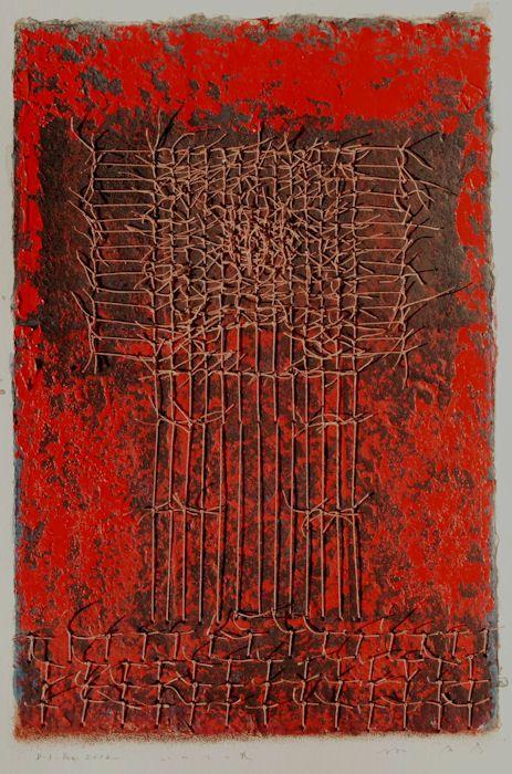 "takahikohayashi: "" D-3.Dec.2012 いのりの巣 The nest of Invocation 42x27.5cm paper making, painting, collage 林孝彦 HAYASHI Takahiko 2012 """