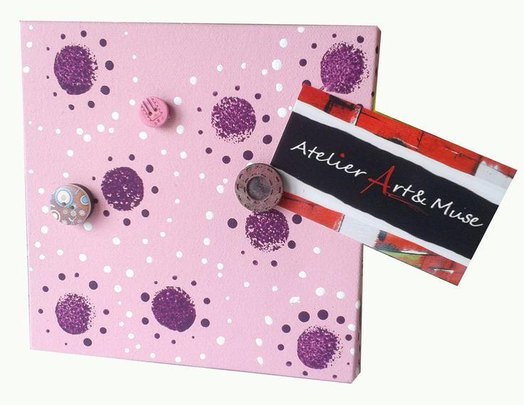 Toile aimantée, boutons aimantés,rose, cadre, peinture abstraite, aimants, oeuvre unique, personnalisée, décoration de la boutique AtelierArtetmuse sur Etsy