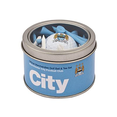 MANCHESTER CITY Golf Ball & Tee Set. Golf Ball. Wooden Golf Tees. Official Licensed Manchester City golf gift. FREE DELIVERY ON ALL OF OUR GIFTS
