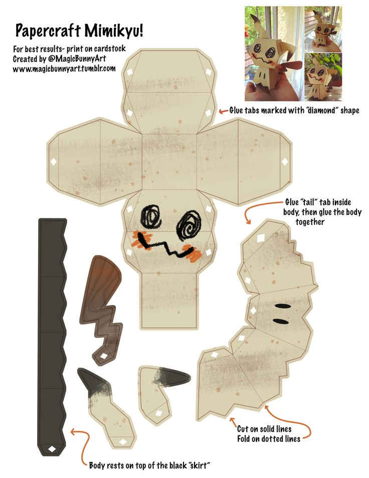 """magicbunnyart: """" Want to make your own Mimikyu? Here's the template I made! I printed mine on a lightly yellow tinted cardstock (which is why its more yellow in the picture) and used good ol' Elmer's..."""
