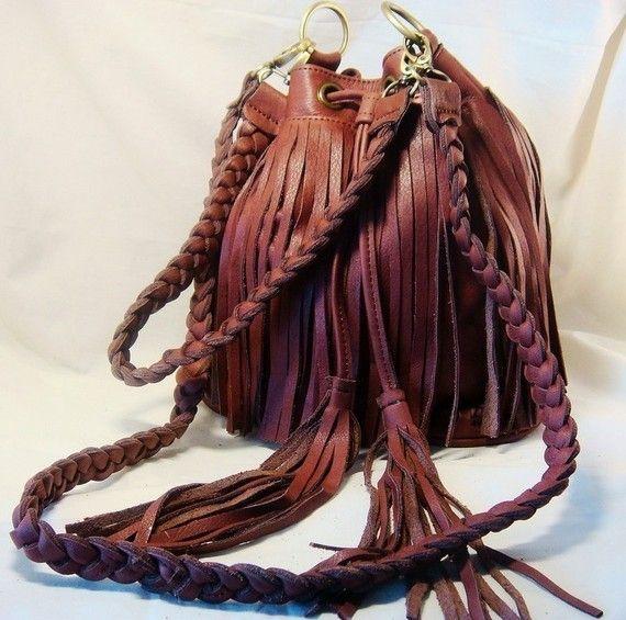 Handmade Fringe Leather bag.