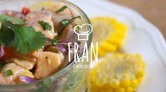Ceviche de salmón, receta simple de ceviche chileno y peruano. Delicioso ceviche de pescado fácil a preparar. Ceviche rico y simple.