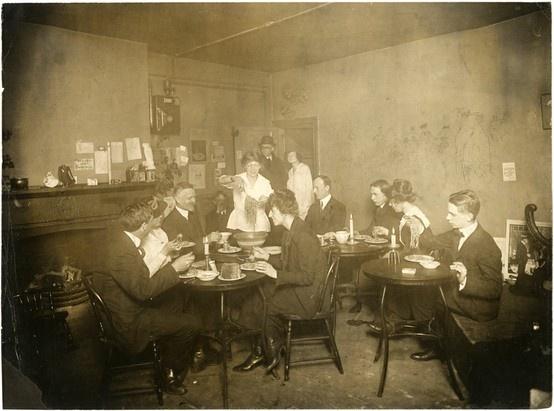 Spaghetti dinner in Grace Godwin's Garret, 58 Washington Square South, 1917-1918.  NYHS Image #44202.