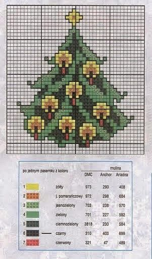 Christmas tree with candles cross stitch chart