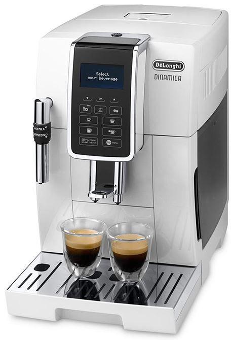 DeLonghi Dinamica ECAM 350.35.W  DeLonghi Dinamica ECAM 350.35.W: Witte koffiemachine met stoompijpje De DeLonghi Dinamica ECAM 350.35.W is een prachtige roomwitte koffiemachine die in jouw keuken volledig tot zijn recht komt! Je maakt de heerlijkste espresso koffie doppio en long koffie met deze machine.Ook kun je met het luxe stoompijpje het fijnste melkschuim maken om zo een lekkere cappuccino te maken. De Dinamica ECAM 350.35.W is ook eenvoudig te onderhouden met het ontkalkings- en…