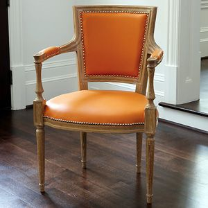Marilyn Arm Chair in Orange Leather