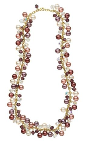 Single-Strand Necklace with Czech Pressed Pearl-Coated Glass Druk Beads and Celestial Crystal® Beads - Fire Mountain Gems and Beads