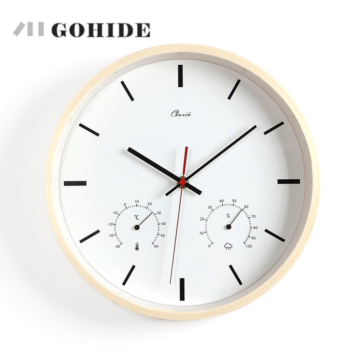 a modern quartz wall clock 12inch natural wall clocks with thermometer and hygrometer funchtional