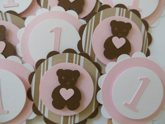 Teddy Bear 1st Birthday Cupcake Toppers Light by Whimsiesbykaren, $6.50
