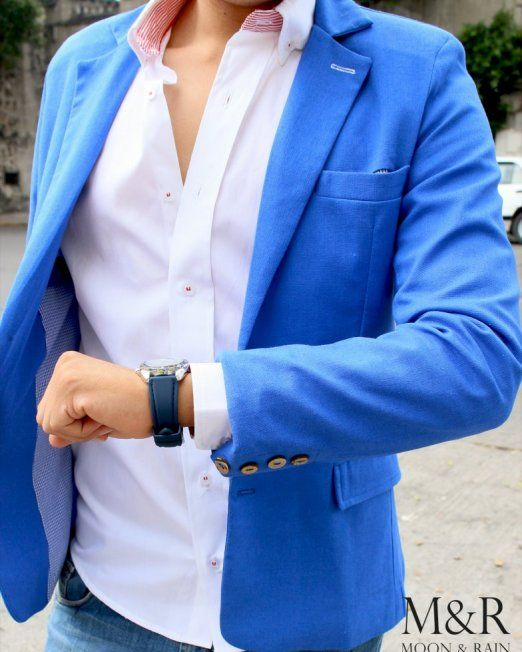 blazer-azul-rey-gabardina-Moon-Rain | Blazers, Blazer azul, Ropa ...