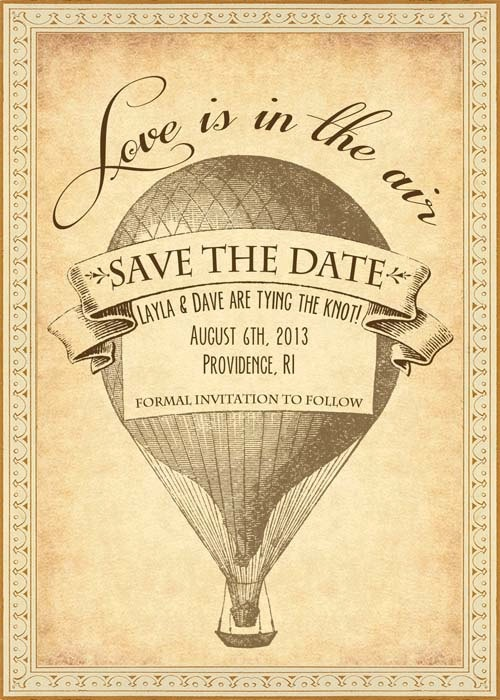 Vivian - Vintage Victorian Steampunk Hot Air Balloon Travel Postcard - Printable DIY Wedding Save the Date Cards - Customized. $10.00, via Etsy.