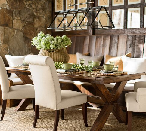 New dining concept. Barnboard bench, with this table/chairs.   PB Comfort Upholstered Chair | Pottery Barn
