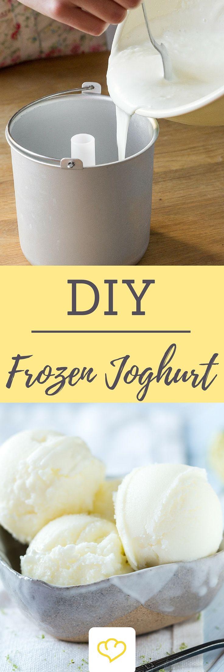 Keine Lust auf überfüllte Frozen-Joghurt Läden? Die Zeiten in denen ihr euch angestellt habt sind nun endgültig vorbei! Mit diesem Rezept macht ihr Frozen Joghurt ganz einfach selber bei euch zu Hause!