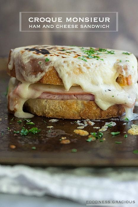Croque Monsieur Grilled Cheese. A traditional french ham and cheese sandwich smothered in creamy béchamel