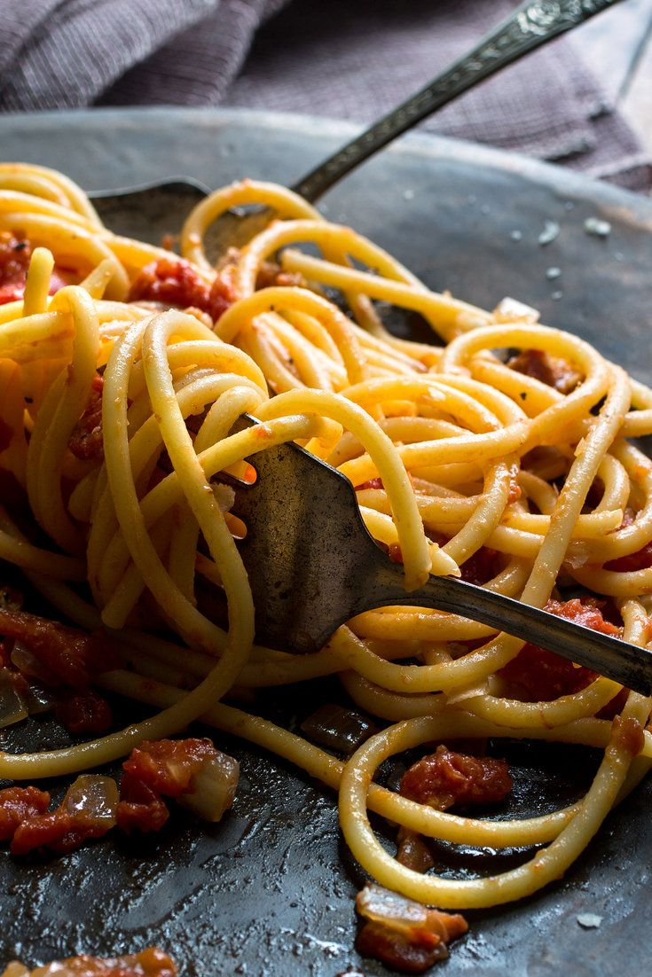 This version of the classic pasta dish is an adaptation of a one from Giuliano Bugialli, an Italian cookbook author and cooking teacher. It is simple to prepare – 45 minutes from start to finish -– but full of bright, sophisticated flavors. If you can't get your hands on bucatini or perciatelli, spaghetti will do just fine. (Photo: Andrew Scrivani for The New York Times)