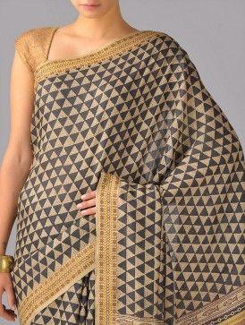 Tribal Hand-Block-Printed Tussar Silk Saree