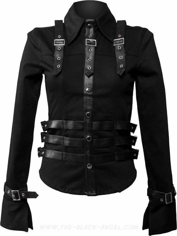Gothic military style women's shirt with long sleeves, buckle and strap detail.