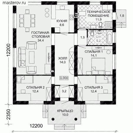 Проект одноэтажного коттеджа № G-121-1P - 1-й этаж