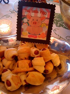Storybook Baby Shower- The little piggy picture and pigs in a blanket