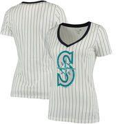 Seattle Mariners 5th & Ocean by New Era Women's Baby Jersey Pinstripe Ringer T-Shirt - White