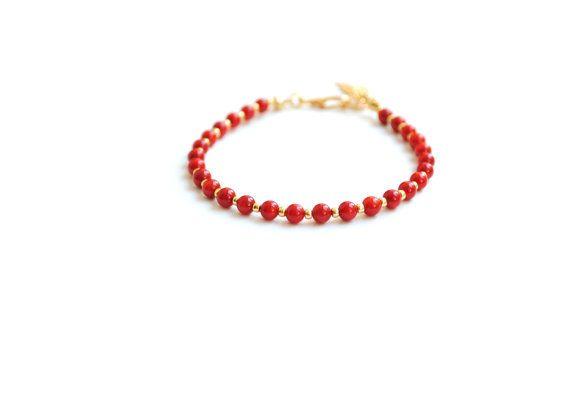 Coral and gold bracelet friendship bracelet toho by elfinadesign