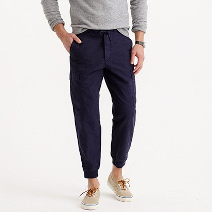 If you haven't embraced jogger pants yet, you should. When it comes to comfort <i>and</i> effortlessly cool style, joggers are the best alternative to your chinos and jeans. This version has a more rugged look (thanks to cargo pockets) and is made of lightweight cotton-linen—so it's perfect for warmer weather. <ul><li>For the best fit, we recommend ordering a full size smaller than your usual size.</li><li>Slightly cropped fit.</li><li>Sits below waist.</li><li>Slim through the leg but not…