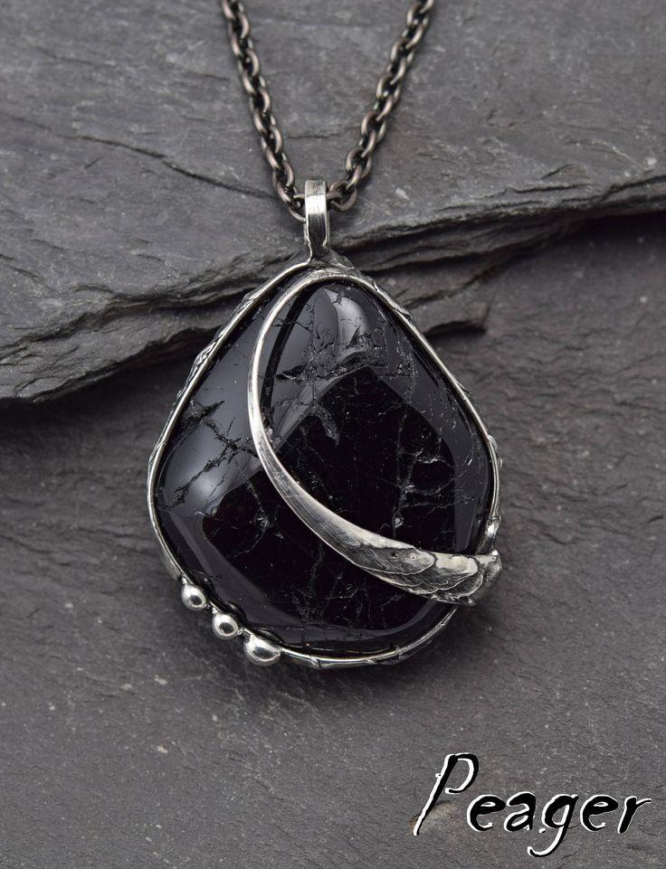 Black Tourmaline pendant,Rustic pendant,Ooak pendant,Tourmaline necklace,Metalwork soldered pendant,Gemstone pendant,Healing chakra necklace by PeagerFantasyWorld on Etsy