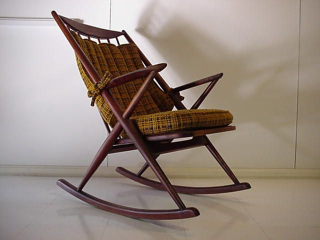 A Comfortable Rocking Chair. Danish Mid Century Rocking Chair By Frank  Reenskaug