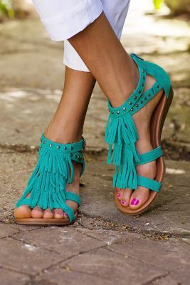 Zion Sandals - Minnetonka Sandals, Suede Fringe Sandals | Soft Surroundings