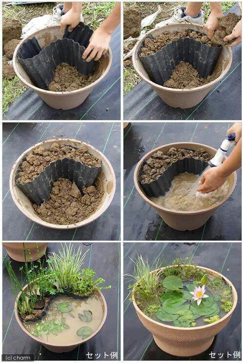 Garden Pond Indoor - This is a great way to bring a bit of Nature to the indoors.  I would add a small aquarium pump for a small waterfall effect. A great DIY Indoor Garden Pond