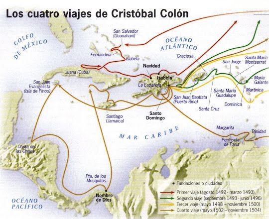 FOTOSYFIGURAS.COM: MAPA DE LOS CUATRO VIAJES DE CRISTOBAL COLON