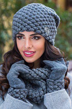 Потрясающая шапка Olivia2 цвета графит