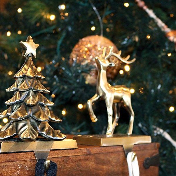 Antique Gold 3D Reindeer Stocking Hanger in Mixed Metals Christmas