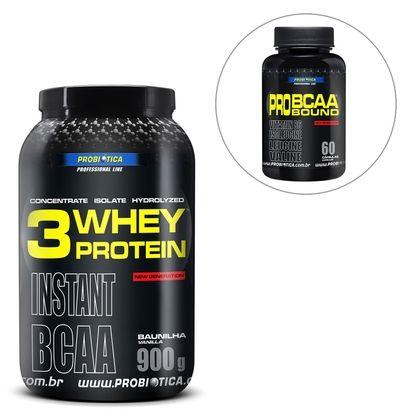 Netshoes Kit Whey Protein 3W 900 g - Probiótica + Pro BCAA Bound 60 Cáps - Probiótica - R$ 76,65