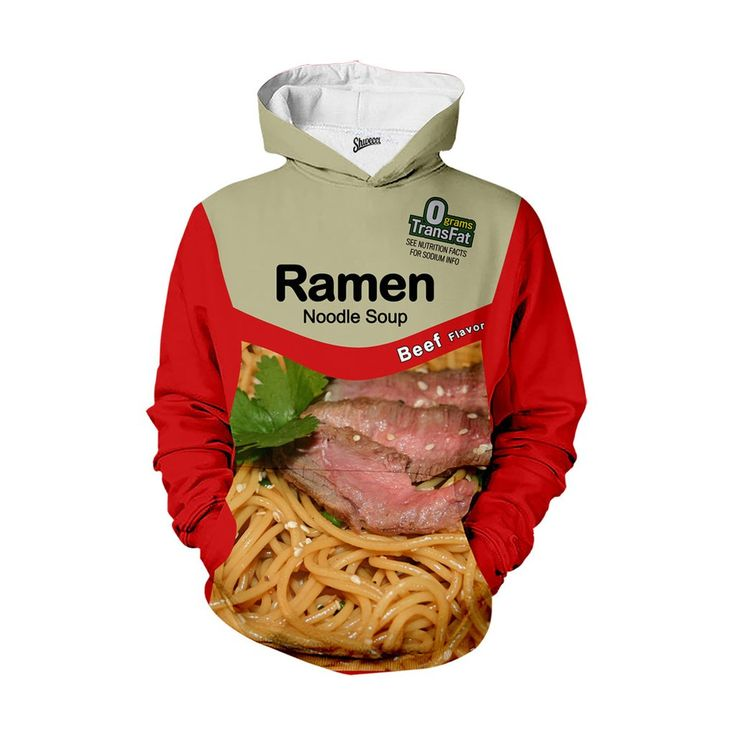 Where's the beef?!  It's right here!  Celebrating the beefy goodness of that classic college cuisine, this killer ramen hoodie shows that you're not only ready to party – you're ready to keep it wet, messy, and spicy all night long.  If wearing a beef ramen hoodie is wrong, then I don't ever want to be right