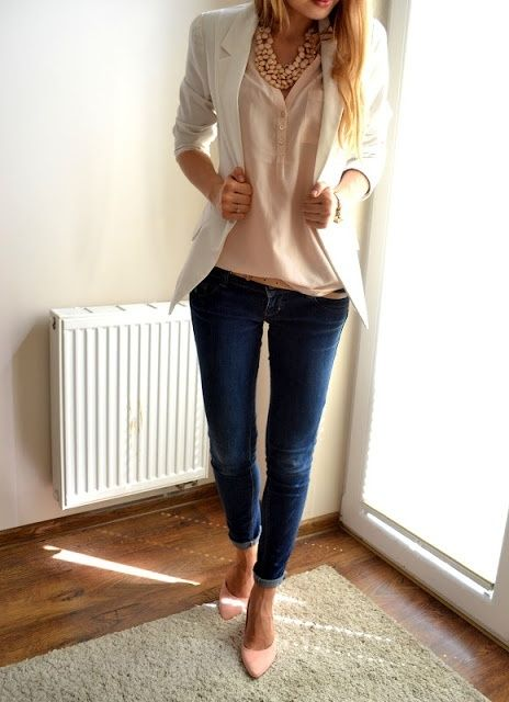white blazer, blush top + shoes, denim