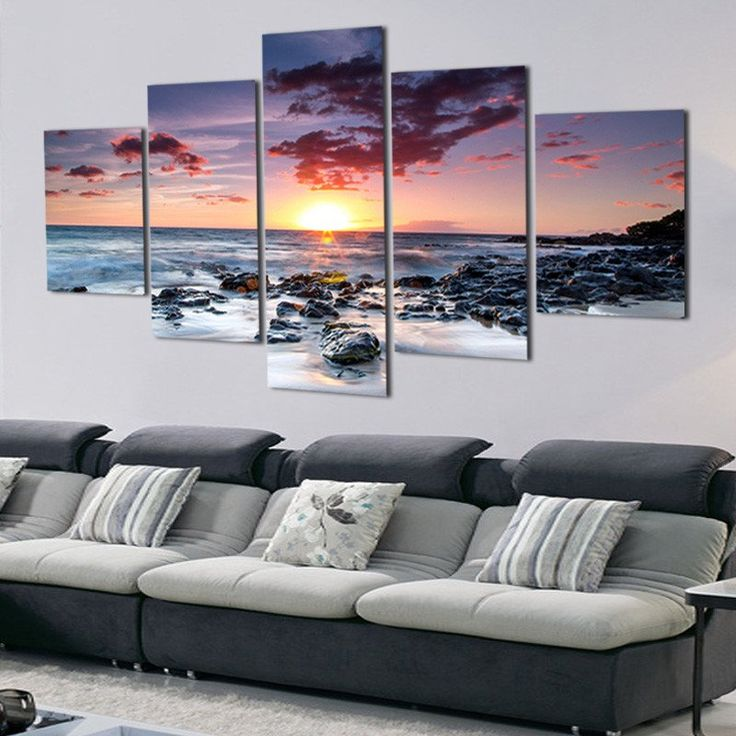 Awesome 5 Panel Modern Printed Sea Wave Landscape Painting Picture Canvas Art  Seascape Painting For Living Room