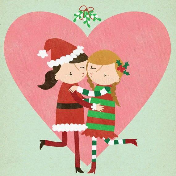 CUSTOMIZED Christmas Mistletoe Lesbian Kiss  by rosydesignsonline, $35.00