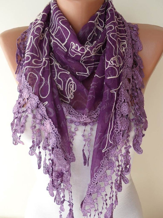 Purple Scarf with Trim Edge by SwedishShop on Etsy, $17.90