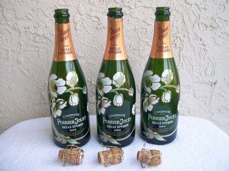 3 Hand Painted Perrier Jouet Champagne Bottles for collecting or art craft