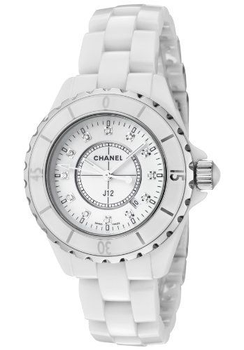 J12 Diamonds Unisex Watch from Chanel: White ceramic case with a white ceramic bracelet. Unidirectional rotating steel rimmed white ceramic bezel.