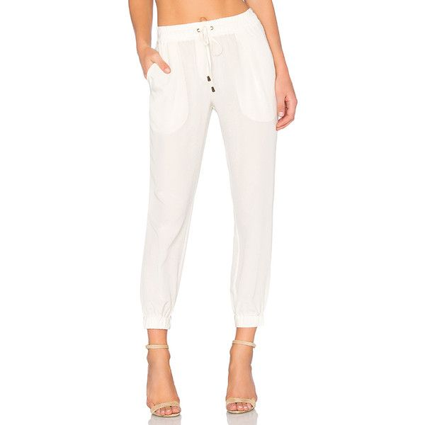 SOH Jogger Pant Pants ($283) ❤ liked on Polyvore featuring pants, white jogger pants, elastic pants, jogger pants, white silk pants and white pants