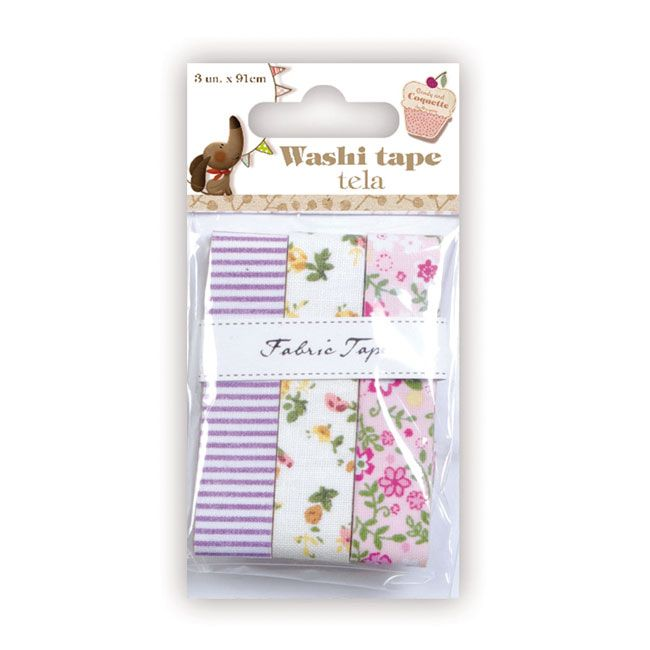 3 masking tapes of fabric3 fabric adhesive tapes for scrapbooking