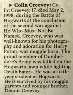 obituaries for those killed in the battle of hogwarts.....2 may 1998