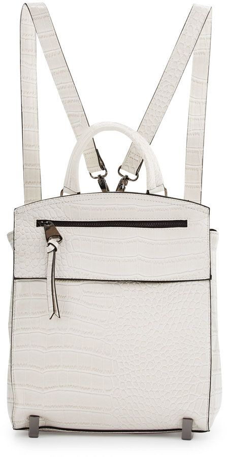 Neiman Marcus Kari Crocodile-Embossed Backpack, Bone