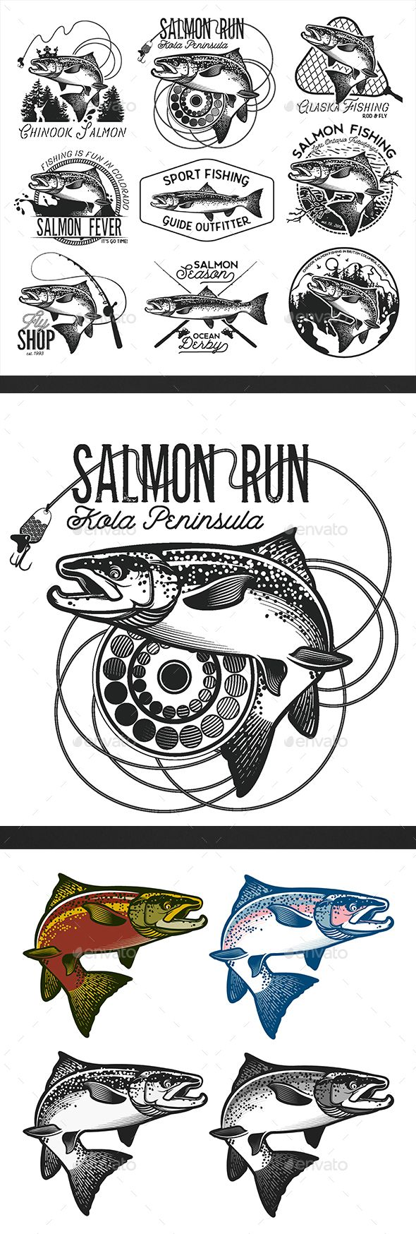 Vintage Salmon Fishing Emblems, labels and design elements. Comes as grouped eps. 10 file editable Jpg. Please note: fonts are not