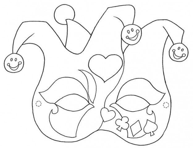 Maschera per il Carnevale - Maschera da colorare con colori vivaci e sgargianti.