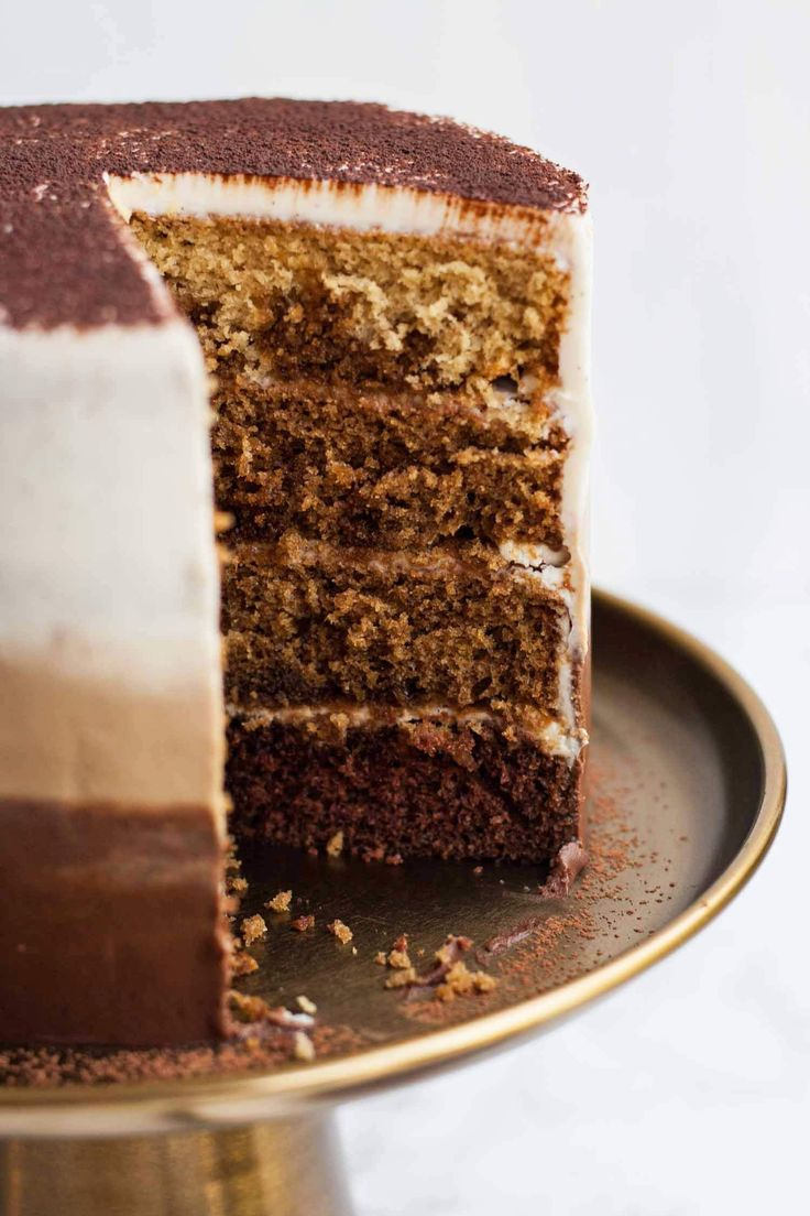 Tiramisu Layer Cake with Ombre Mascarpone Frosting - this decadent tiramisu cake is perfect for coffee addicts - it's light and flavourful and is an ideal birthday cake!   eatloveeats.com